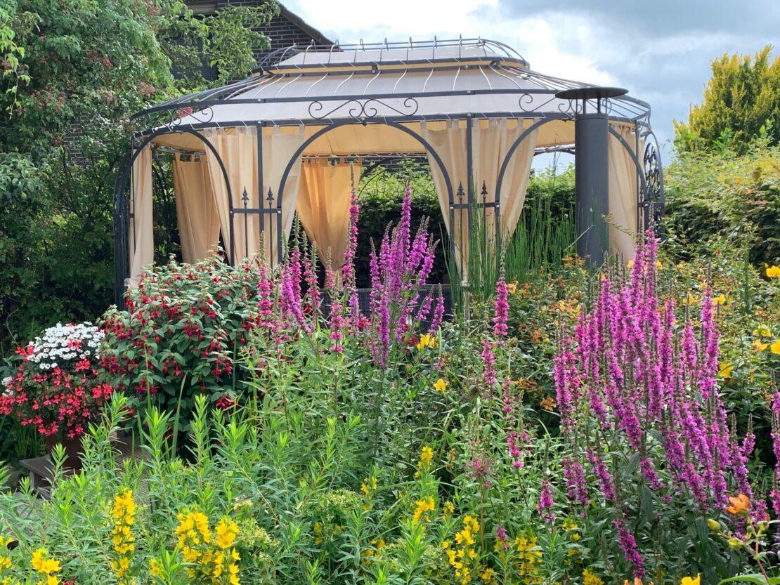 Pavillon Verona mit Sonnensegel und Vorhängen, pulverbeschichtet anthrazit