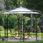 Gartenpavillon Florenz mit Messingkugel und Sonnensegel, pulverbeschichtet