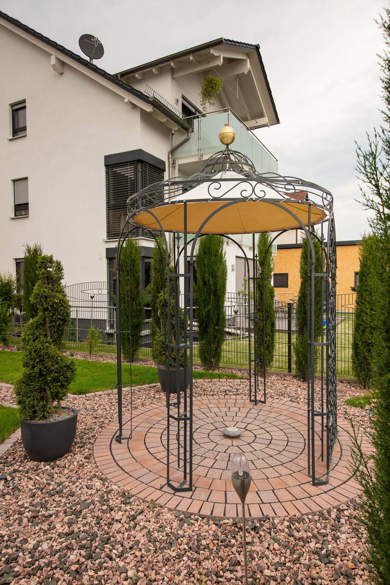 Pavillon Siena mit Sonnensegel und Rankgitter Rosa, pulverbeschichtet anthrazit