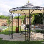 Pavillon Florenz mit Messingkugel und Sonnensegel, pulverbeschichtet anthrazit