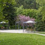 Gartenpavillon Florenz mit Sonnensegel, pulverbeschichtet. Wir empfehlen das Sonnensegel am unteren Ring zu befestigen.
