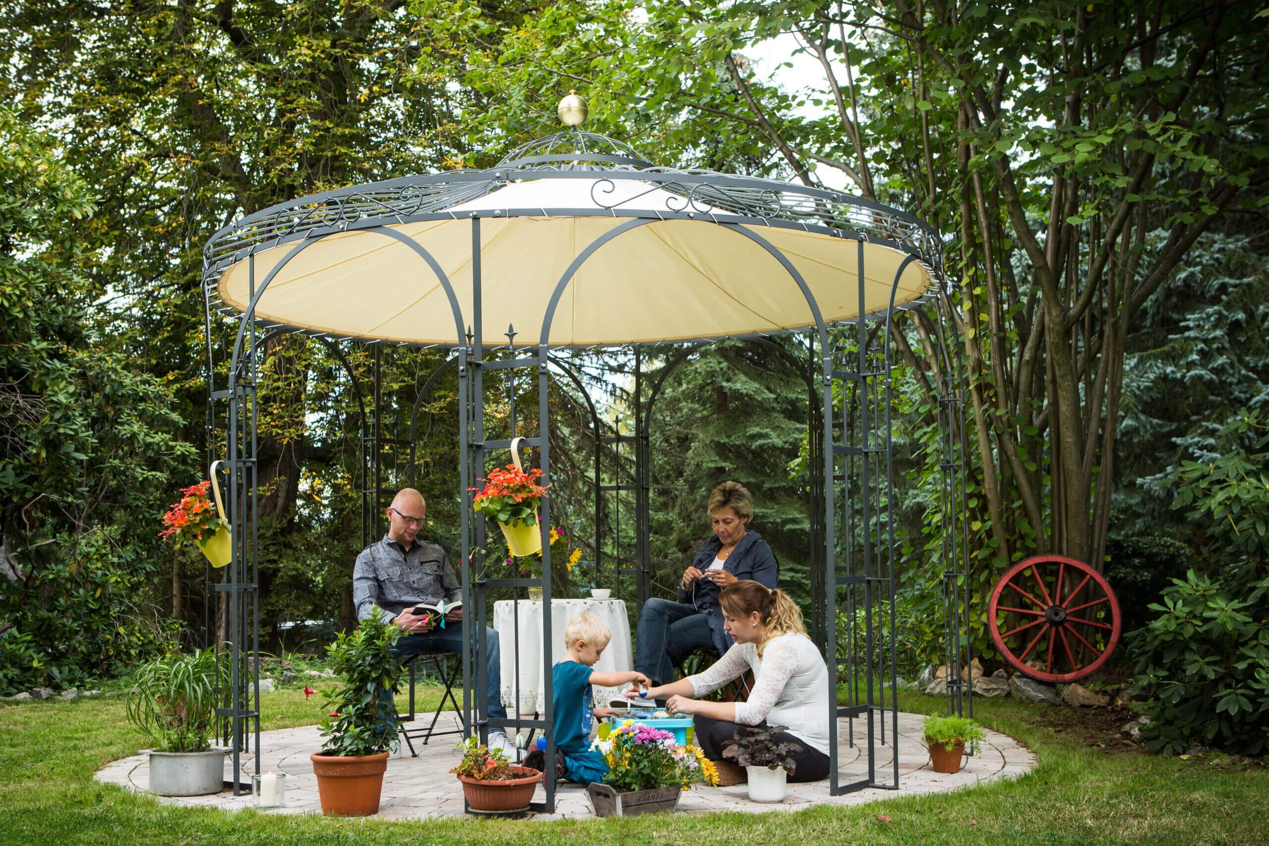 Gartenpavillon Florenz mit Messingkugel und Sonnensegel, pulverbeschichtet anthrazit