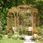 Gartenpavillon Milano mit Messingkugel Rankgitter Rosa, unbeschichtet Edelrost