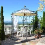 Gartenpavillon Milano mit Messingkugel Sonnensegel, pulverbeschichtet anthrazit