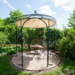 Gartenpavillon Milano mit Sonnensegel, pulverbeschichtet