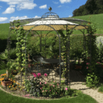 Gartenpavillon Florenz mit Messingkugel und Sonnensegel, pulverbeschichtet anthrazit, berankt