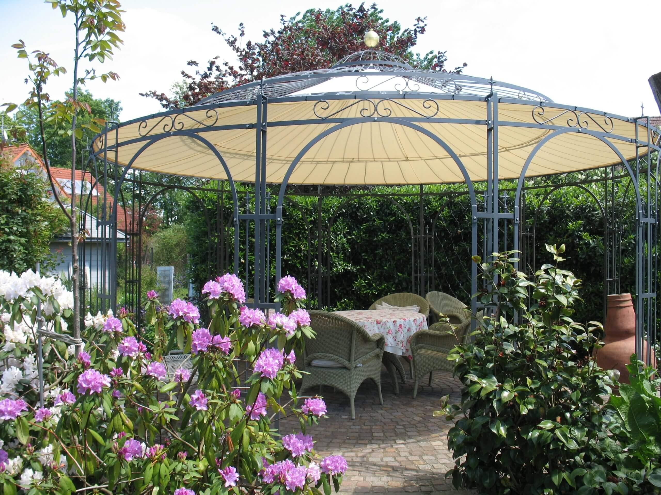 Gartenpavillon Toskana mit Messingkugel und Sonnensegel, pulverbeschichtet anthrazit