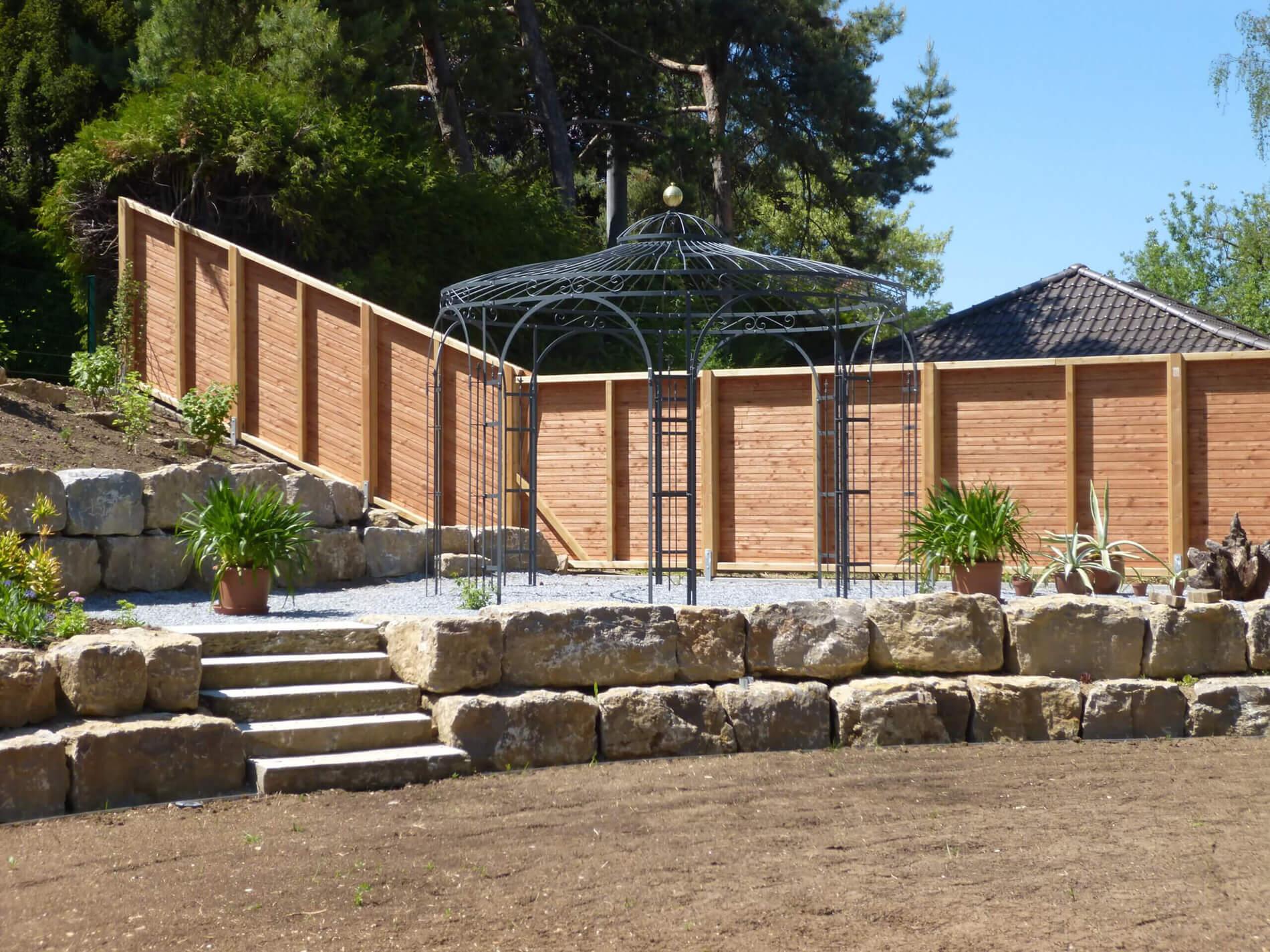 Gartenpavillon Florenz, duplexbeschichtet mit Messingkugel